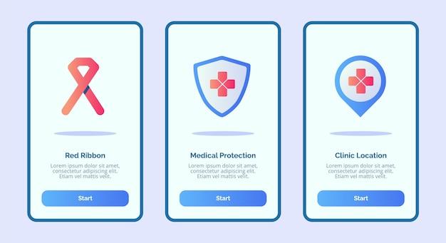 Posizione della clinica di protezione medica del nastro rosso dell'icona medica per l'interfaccia utente della pagina dell'insegna del modello di applicazioni mobili