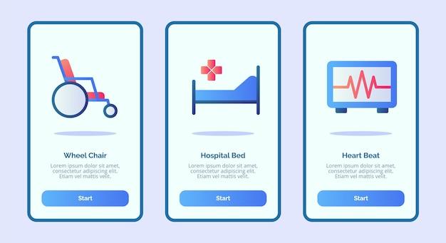 Icona medica sedia a rotelle letto d'ospedale battito cardiaco