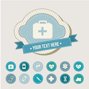 Icone mediche sopra illustrazione vettoriale sfondo beige