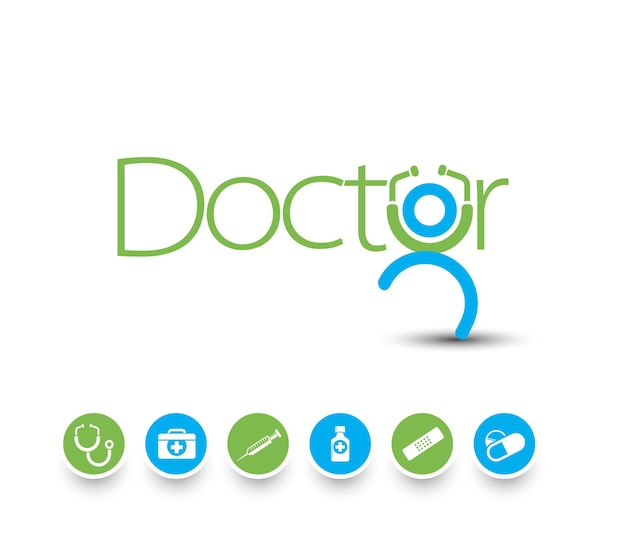 Insieme di vettore di icone e simboli medici.