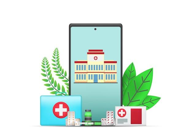 Illustrazione medica con l'ospedale, la medicina e l'icona della salute