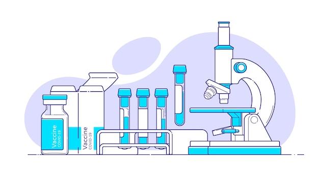 Illustrazione medica con microscopio, provetta per analisi del sangue, vaccino covid in stile piatto con contorno