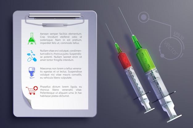 Concetto di strumenti medici con le icone del blocco note delle siringhe nell'illustrazione di stile realistico