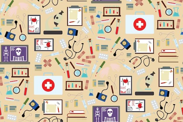 Strumenti medici e fondo del modello di medicamento in stile piatto design