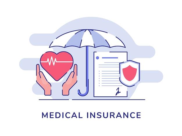 Ombrello di battito cardiaco della stretta della mano di concetto di assicurazione medica