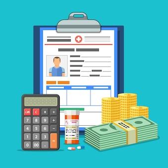 Concetto di servizi di assicurazione medica con cartella clinica, soldi, calcolatrice e pillole.