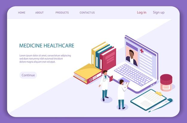 Concetto isometrico medico. diagnosi con paziente e medico, esame medico. pagina di destinazione sanitaria