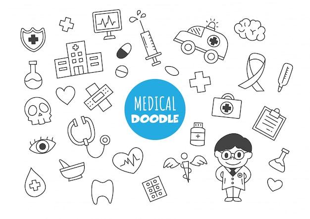 Doodle kawaii medico