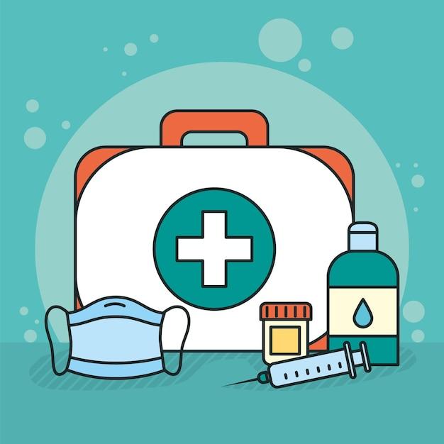 Illustrazione di kit medico con icone