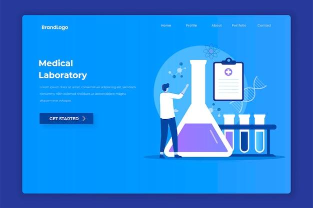 Pagina di destinazione del laboratorio medico Vettore Premium