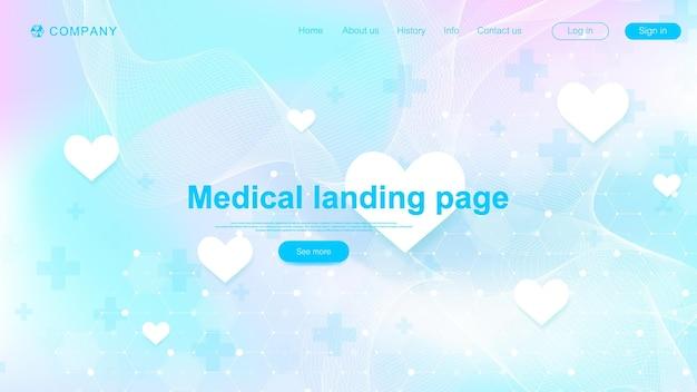 Progettazione del modello di pagina di destinazione medica. modello astratto dell'insegna di sanità. sfondo scientifico astratto con esagoni. modello di innovazione. illustrazione vettoriale.
