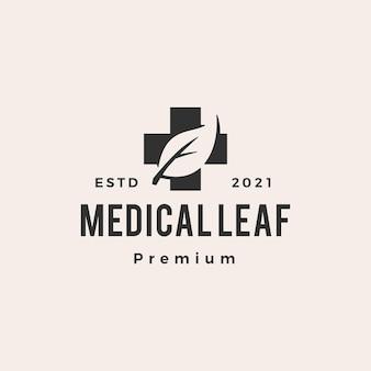 Logo vintage hipster foglia medica