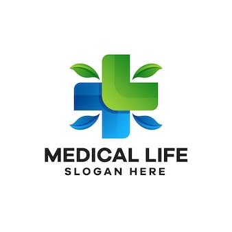 Design del logo con gradiente di vita medica