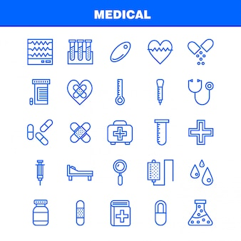 Icon pack di linee mediche per progettisti e sviluppatori.