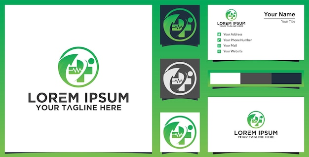 Logo medico e ispirazione per biglietti da visita vettore premium