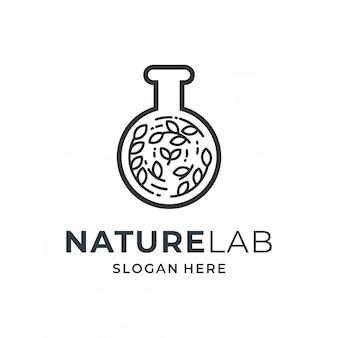 Concetto di logo medico con elemento di vetreria per laboratorio e natura.