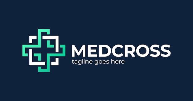Design del logo medico. croce medica a base di pezzi quadrati astratti.