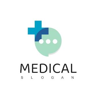 Modello di progettazione di logo medico, consulenza sanitaria, simbolo di colloquio medico