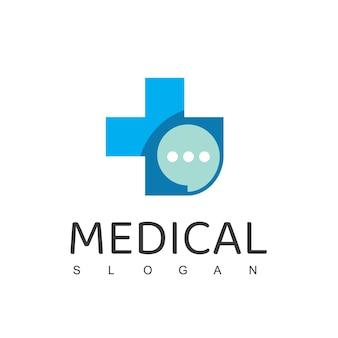 Modello di progettazione di logo medico simbolo di colloquio medico di consulenza sanitaria