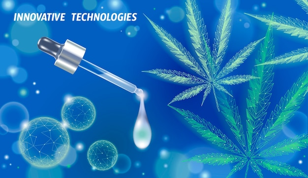 Foglia di olio di marijuana medica. legalizza il concetto di trattamento del dolore medico. simbolo della bottiglia di vetro della medicina dell'erba della cannabis. pipetta trasparente illustrazione realistica di prescrizione.