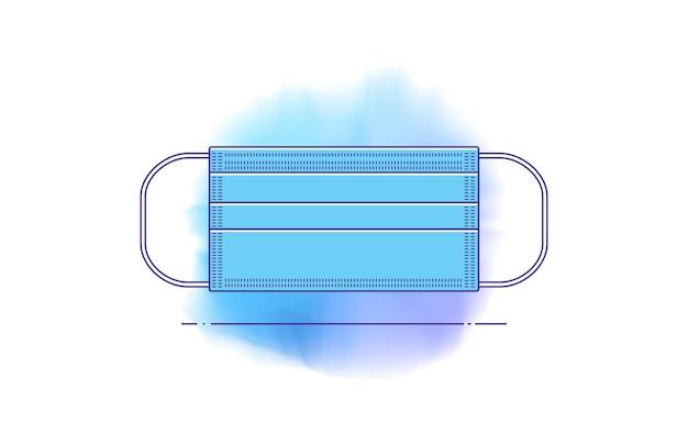 Icona della linea del vettore di maschera medica in stile piano. modello dpi su sfondo isolato. dispositivi di protezione individuale contro batteri, polvere, inquinamento atmosferico, prevenzione di virus, influenza, pandemie, epidemie.