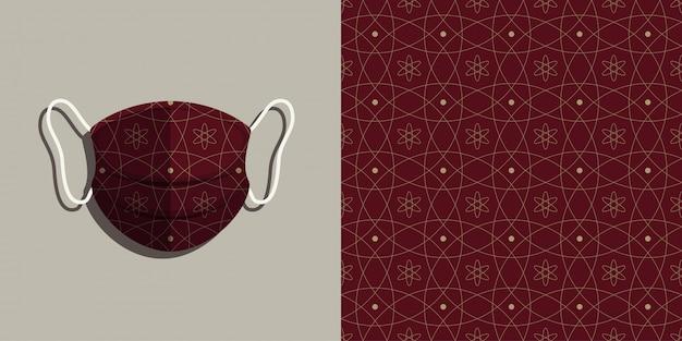 Maschera medica con set di sfondo seamless pattern batik