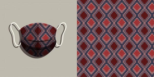 Mascherina medica con set di sfondo maglia senza cuciture