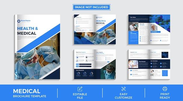 Progettazione di brochure aziendali multi-pagine mediche vettore premium