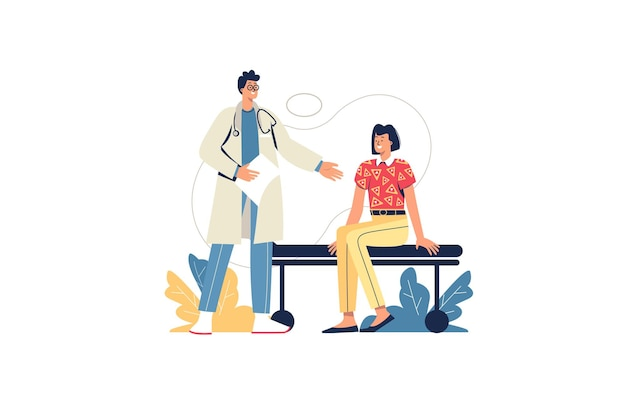 Concetto di web studio medico. il medico consulta il paziente, la diagnostica e la prescrizione del trattamento. donna in visita terapista in clinica, scena di persone minime. illustrazione vettoriale in design piatto per sito web