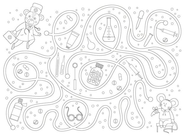 Labirinto di contorno medico per bambini
