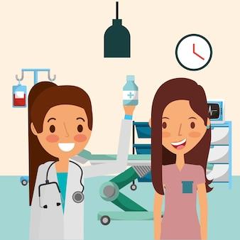 Persone mediche professionali e pazienti nella stanza