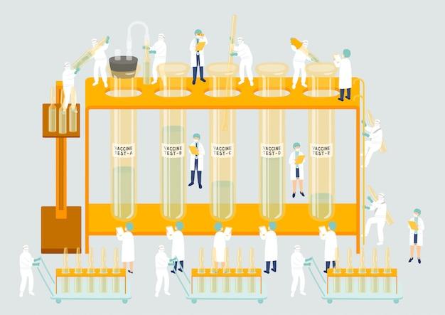 Produzione di gestione del lavoro di squadra del personale medico il personale del team del laboratorio di assemblaggio in miniatura persone generano vaccino covid-19, metafora del laboratorio scientifico poster o illustrazione di banner sociale isolata