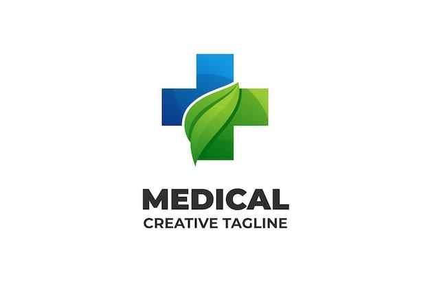 Logo aziendale a base di erbe di natura medica farmaceutica
