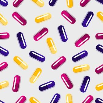 Modello senza cuciture di pillole mediche, vettore di medicina