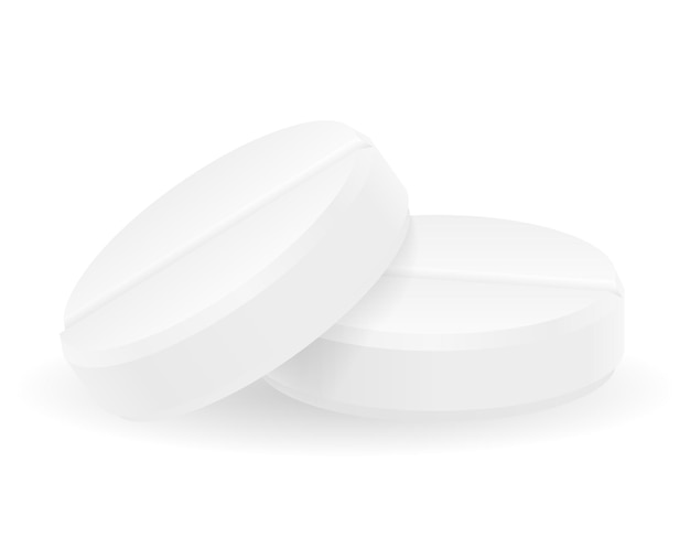 Compresse di pillole mediche per il trattamento di malattie illustrazione isolato su bianco