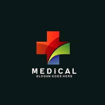 Medical plus logo design isolato sul nero