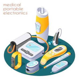 Composizione isometrica nell'elettronica portatile medica con l'illustrazione dei dispositivi digitali del tester della pelle del termometro del misuratore di glucosio del misuratore di pressione