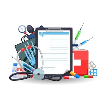 Prescrizione medica. pillola e stetoscopio, termometro e farmacia, tonometro e raggi x, vitaminici e sani.