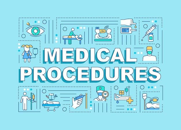 Insegna di concetti di parola di procedure mediche Vettore Premium