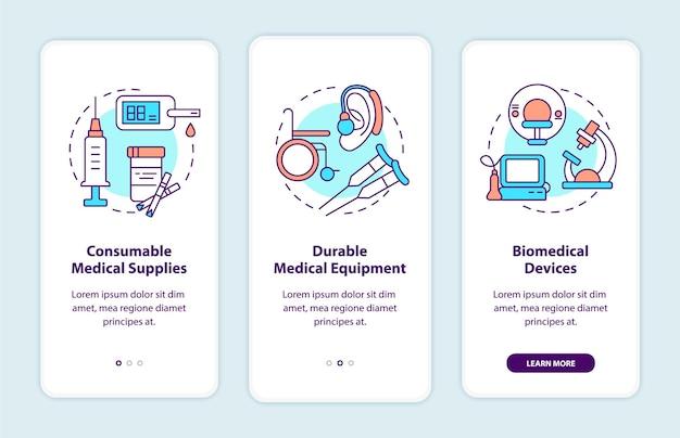 Categorie di donazione di prodotti medici a bordo della schermata della pagina dell'app mobile