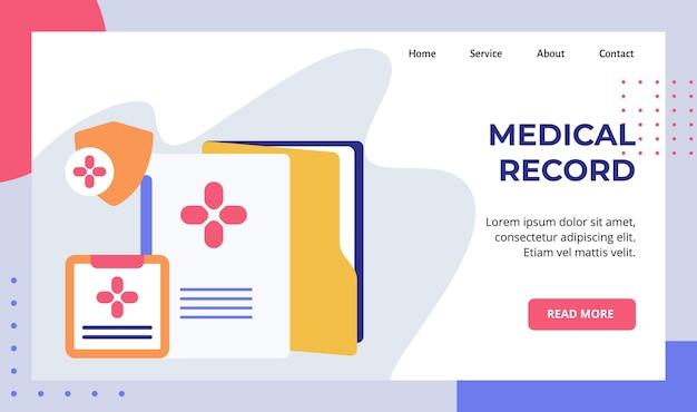 File di cartelle cliniche documento campagna di storia sana del paziente per la pagina di destinazione della home page del sito web