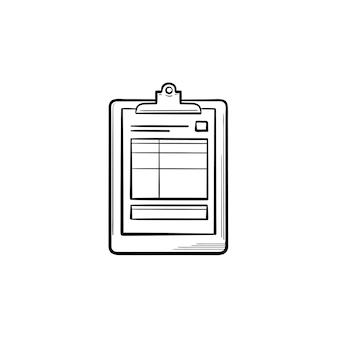 Icona di doodle del contorno disegnato a mano di cartelle cliniche e test di salute