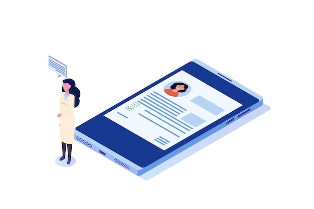 Cartella clinica concetto medico online isometrico