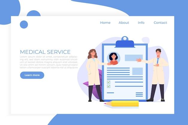 Cartella clinica modello di pagina web di landigg medico online Vettore Premium