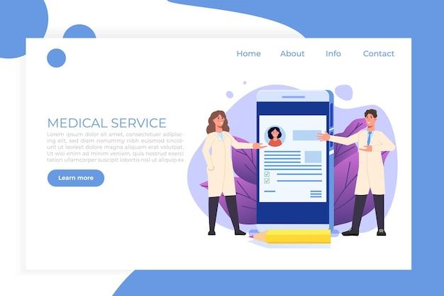 Cartella clinica modello di pagina web di landigg medico online