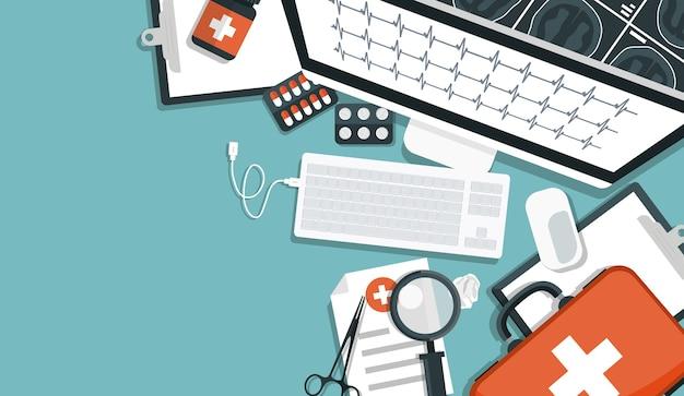 Banner di ricerca medica. luogo di lavoro medico