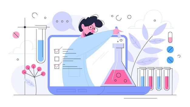 Concetto di ricerca medica. scienziato che fa test clinici e analisi. sviluppo di nuovi farmaci. illustrazione in stile
