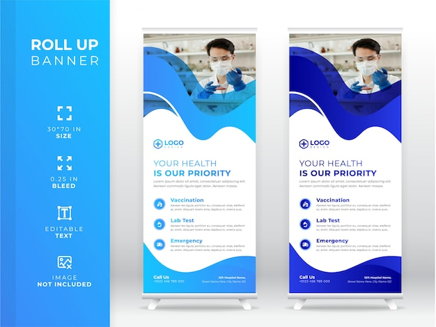 Banner roll up medico, banner standee premium
