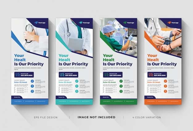 Modelli di banner roll up medico