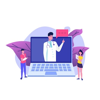 Servizio medico, schermata della pagina dell'app. concetto in linea del medico.